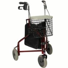 Invacare Delta Lightweight Tri Walker 3 Wheel Walking Frame Bag Basket & Tray - Burgundy