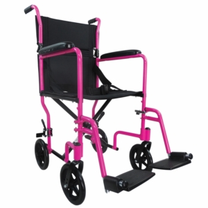 Aidapt Aluminium Compact Transport Wheelchair - Pink