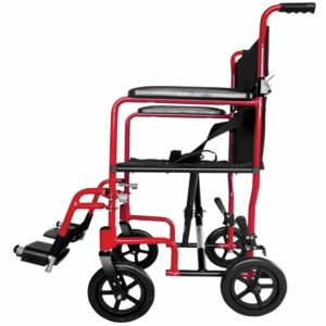 Aidapt Aluminium Compact Transport Wheelchair - Red