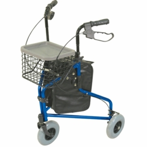 Aidapt Aluminium Tri Walker With Bag Basket & Tray - Blue