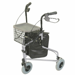 Aidapt Aluminium Tri Walker With Bag Basket & Tray - Silver