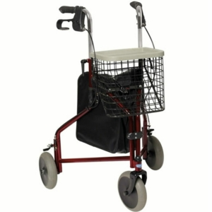 Invacare Delta Lightweight Tri Walker 3 Wheel Walking Frame Bag Basket & Tray - Burgundy